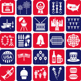 Vierde pictogrammen van Juli Royalty-vrije Stock Afbeeldingen