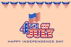 Vierde van Amerikaanse de Onafhankelijkheidsdag van Juli Stock Fotografie