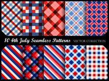 vierde van de patriottische naadloze patronen van juli Stock Afbeelding