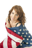 Vierde van het Patriottische Meisje van Juli Stock Afbeeldingen