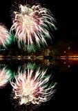 Vierde van het vuurwerk van Juli in NYC Stock Afbeeldingen