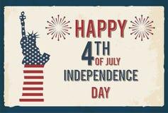 vierde van Juli-affiche Teken van het Grunge retro metaal met Standbeeld van Vrijheid De achtergrond van de onafhankelijkheid Day Royalty-vrije Stock Foto