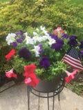 Vierde van Juli-bloemmand Stock Foto