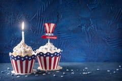 Vierde van Juli cupcakes stock afbeelding