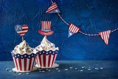 Vierde van Juli cupcakes stock afbeeldingen
