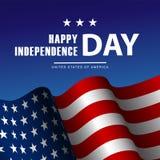 Vierde van Juli-de affiche van de Onafhankelijkheidsdag of kaartmalplaatje Royalty-vrije Stock Fotografie