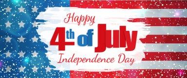Vierde van Juli, de horizontale banner van de Onafhankelijkheidsdag Stock Afbeelding