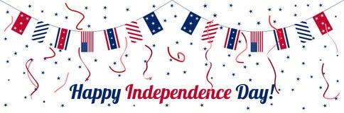 Vierde van Juli-de vieringsbanner van de Onafhankelijkheidsdag Royalty-vrije Stock Foto's