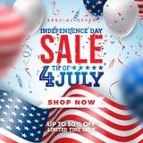 Vierde van Juli Het Ontwerp van de de Verkoopbanner van de onafhankelijkheidsdag met Ballon en Vlag op Confettienachtergrond De n vector illustratie