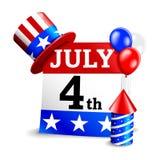 vierde van juli kalenderpictogram Stock Fotografie