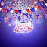 vierde van Juli-Onafhankelijkheidsdag van de Vectorillustratie van de V.S. Vierde van Amerikaans nationaal de Vieringsontwerp van vector illustratie