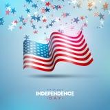 vierde van Juli-Onafhankelijkheidsdag van de Vectorillustratie van de V.S. Vierde van Amerikaans nationaal de Vieringsontwerp van royalty-vrije illustratie