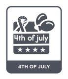 vierde van juli-pictogram in in ontwerpstijl vierde van juli-pictogram op witte achtergrond wordt geïsoleerd die vierde van het v royalty-vrije illustratie
