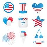 vierde van juli-pictogrammen Royalty-vrije Stock Afbeelding