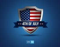 Vierde van juli-schild op de blauwe achtergrond Stock Afbeeldingen