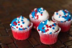 Vierde van Juli-Ster Cupcakes Royalty-vrije Stock Foto's