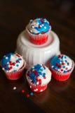 Vierde van Juli-Ster Cupcakes Stock Afbeeldingen