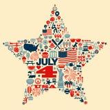 vierde van Juli-t-Sh de collageillustratie van pictogramsymbolen Stock Fotografie
