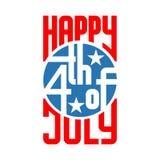 vierde van van de de Onafhankelijkheidsdag van Juli de V.S. het embleemvector Royalty-vrije Stock Fotografie