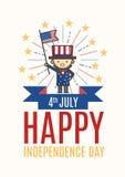 Vierde van van de de Onafhankelijkheidsdag van Juli Gelukkige de groetkaart, affiche of F Royalty-vrije Stock Foto