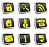 Vierecksmetallweb-Ikonenset Lizenzfreie Stockfotos