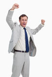 Vierende zakenman met zijn omhoog wapens Royalty-vrije Stock Foto