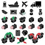 Vierentwintig pictogrammen van de pakketlevering Stock Foto