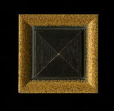 Vierflächige quadratische dekorative Rosette von hölzernen Gestaltungsstreifen Stockfotografie