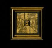 Vierflächige quadratische dekorative Rosette von hölzernen Gestaltungsstreifen Stockfotos