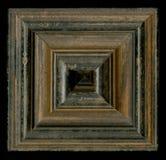 Vierflächige quadratische dekorative Rosette von hölzernen Gestaltungsstreifen Stockfoto