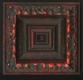 Vierflächige quadratische dekorative Rosette von hölzernen Gestaltungsstreifen Stockbild