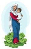vierge de Jésus Mary de fixation de chéri Image libre de droits