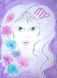 Vierge de signe de zodiaque Peinture initiale illustration libre de droits