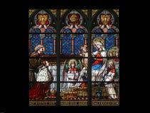 Vierge Marie avec le bébé Jésus, les anges et les saints Photos libres de droits