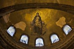 Vierge Marie et enfant le Christ, la mosaïque d'Apse Images libres de droits