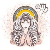 vierge zodiaque des symboles douze de signe de conception de dessin-modèles divers Image stock