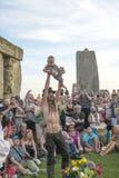 Viering bij de Zomerzonnestilstand van Stonehenge Wiltshire Royalty-vrije Stock Afbeelding