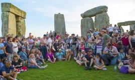 Viering bij de Zomerzonnestilstand van Stonehenge Wiltshire Royalty-vrije Stock Foto's