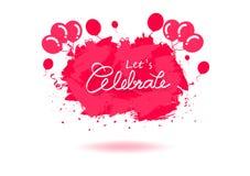 Viering, creatief het embleemontwerp van de banneraffiche door roze de inktplons van de grungeborstel, Linten, ballons, cake en c stock illustratie