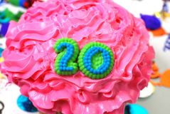 Viering Cupcake - Nummer 20 Royalty-vrije Stock Afbeelding