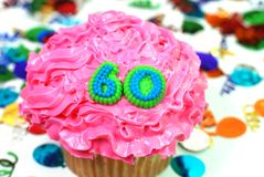 Viering Cupcake - Nummer 60 Stock Fotografie