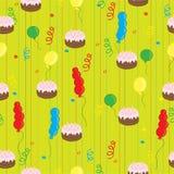 Viering met cake en ballons Royalty-vrije Illustratie