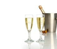 Viering met champagne stock foto's