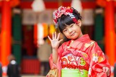 Viering shichi-gaan-San in Ikuta Jinja - Kobe Stock Afbeelding