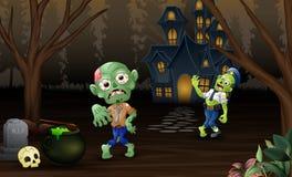 Viering twee zombie in openlucht met spookhuisachtergrond vector illustratie