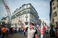 Viering van bevrijding in Milaan op 25 April 2014 wordt gehouden die Stock Foto's