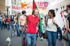 Viering van bevrijding in Milaan op 25 April 2014 wordt gehouden die Royalty-vrije Stock Foto's