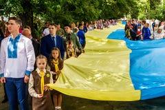 Viering van de Dag van de Vlag van de Staat van de Oekraïne in Uzhgorod Stock Foto's