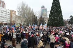 Viering van de Internationale Dag van Solidariteit in Donetsk  Royalty-vrije Stock Foto's