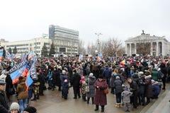 Viering van de Internationale Dag van Solidariteit in Donetsk  Stock Afbeelding